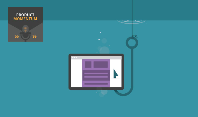 Illustration of hook in the water catching a website