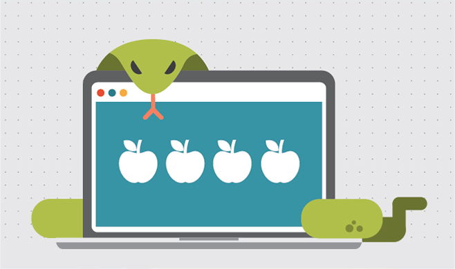 Computer illustration with 4 apples (sins) with a snake around it