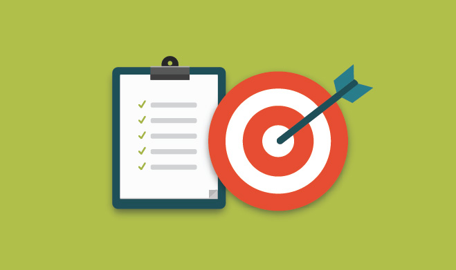 Illustration of a bullseye on target with a checklist