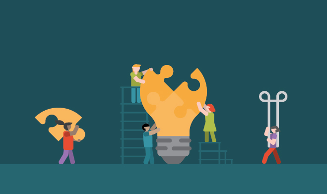Illustration of people building a lightbulb puzzle