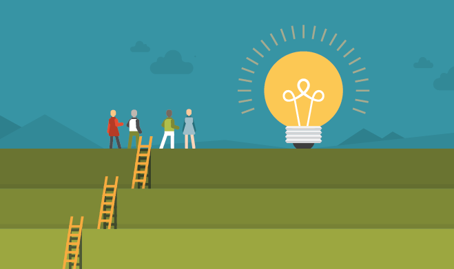 Illustration of people climbing ladders to the lightbulb of ideas