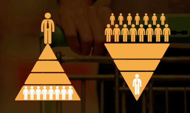 Two pyramids with people at the bottom and businessman at the top, and reverse