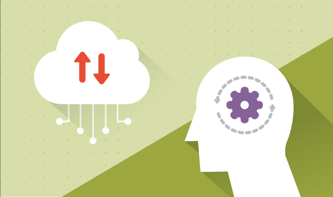 Illustration of cloud services and a head thinking