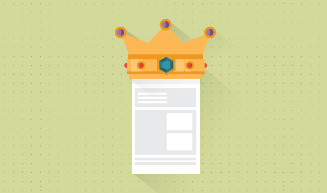 Crown on content in a website layout