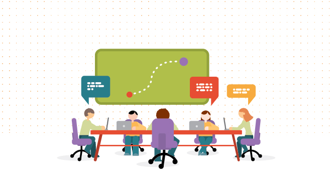 Illustration of people working at conference table, talking through user path