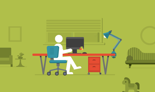 Illustration of a person sitting at a desk at home with all the other home elements faded