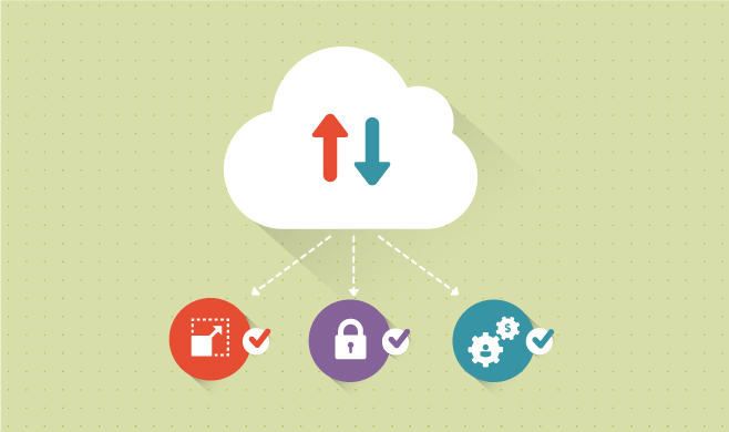Illustration of cloud linking security, scalability and integrity