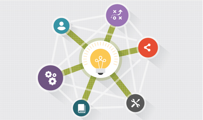 Graphic showing a lightbulb at center with icons showcasing trust, loyalty, and advocacy