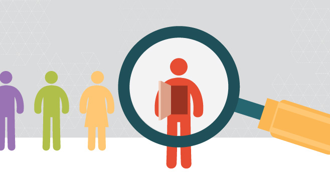 Illustration search icon looking inside a person
