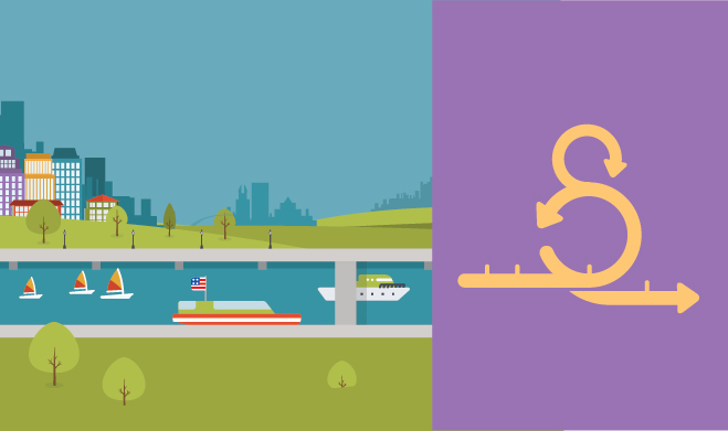 Illustration of a canal, aligned with a agile cycle graphic