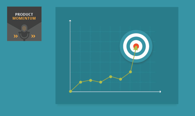 Product Momentum graph showing upward momentum to a bullseye goal
