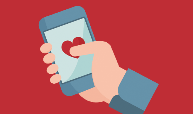 Illustration of a phone in a hand with a heart on it