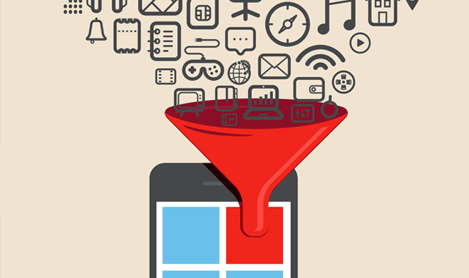 Icons funneling an app on a phone screen