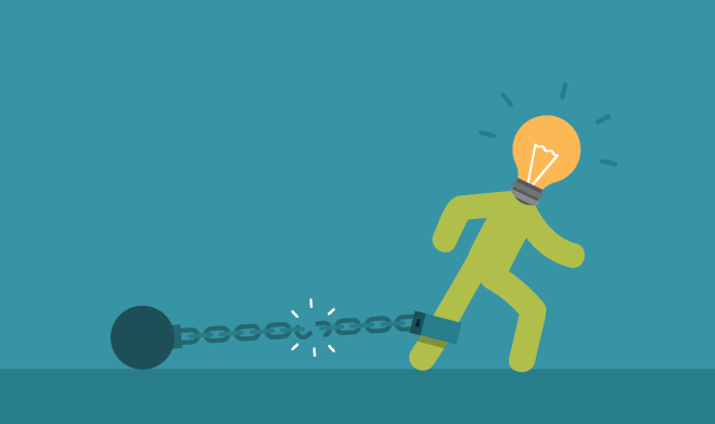 Illustration of person with lightbulb head breaking from chain