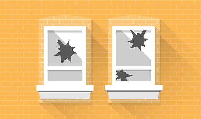 Illustration of two broken windows