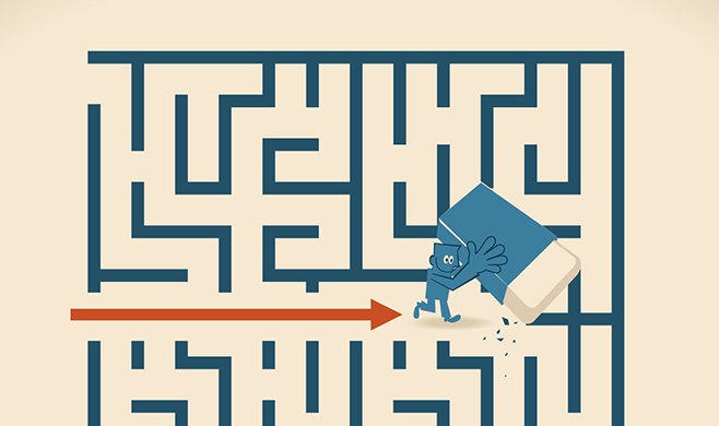 A character erasing a maze path with a red arrow path following
