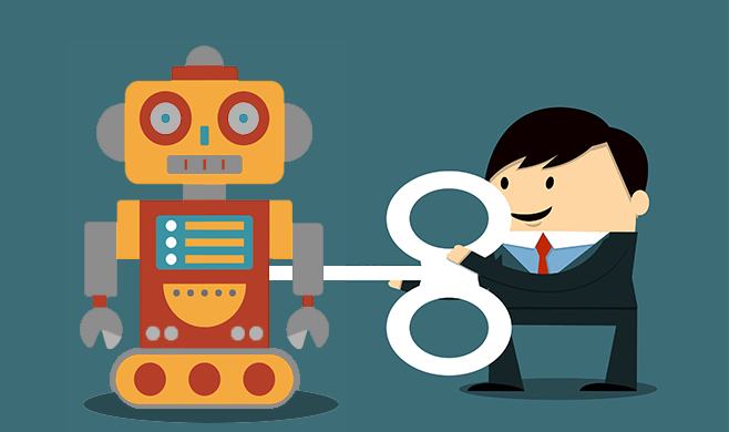 Illustration of a man winding up a robot with a key