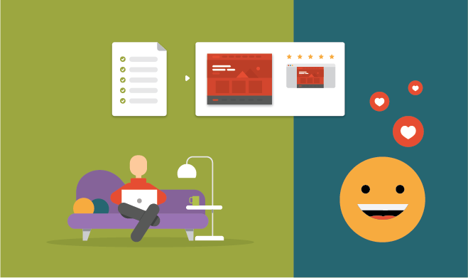 Illustration of person on the couch working, happy emoticon liking the work