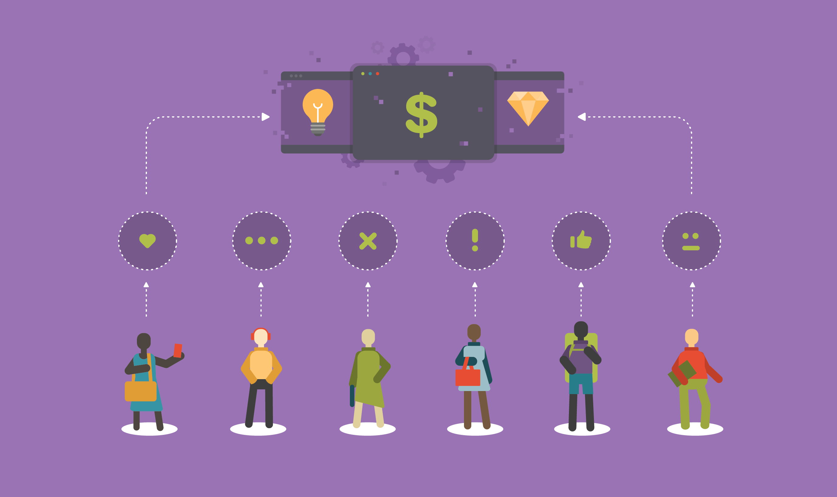 Illustration of diverse group of people with different opinion icons above their head as currency