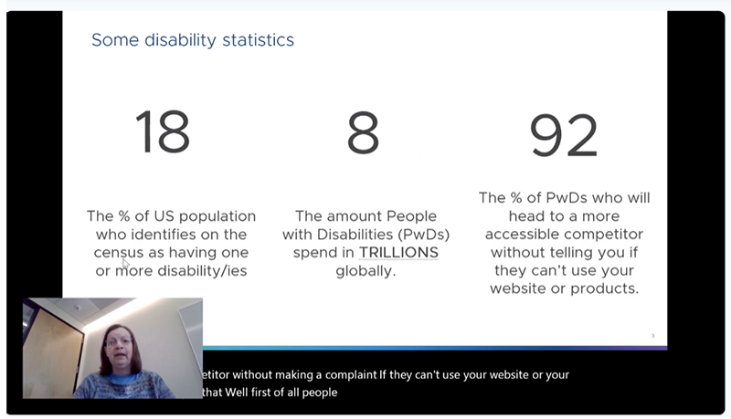 Sheri presenting a slide that reads the following statistics: 18 percent of the U.S. population who identifies as having one or more disability, the amount of people with disabilities (PwDs) spend 8 trillion globally, 92% of PwDs who will head to a more accessible competitor.