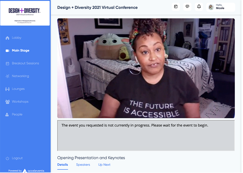 Virtual conference platform screenshot that highlights speaker Jennifer White-Johnson talking on Umbra's panel of black womxn designers wearing a t-shirt that reads: the future is accessible.