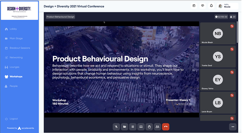Virtual conference platform screenshot that showcases the workshop for Product Behavioral design. It's featuring the first slide of the deck that describes the specifics for the session.
